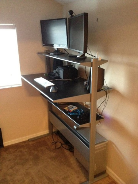 The setup of my first standing desk (not my picture though)