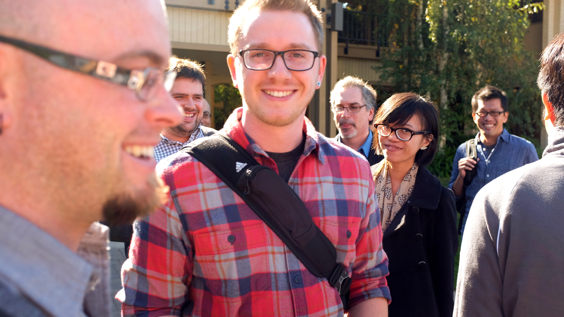 Myself and all the Accelerator class about to enter the Sequoia Capital building
