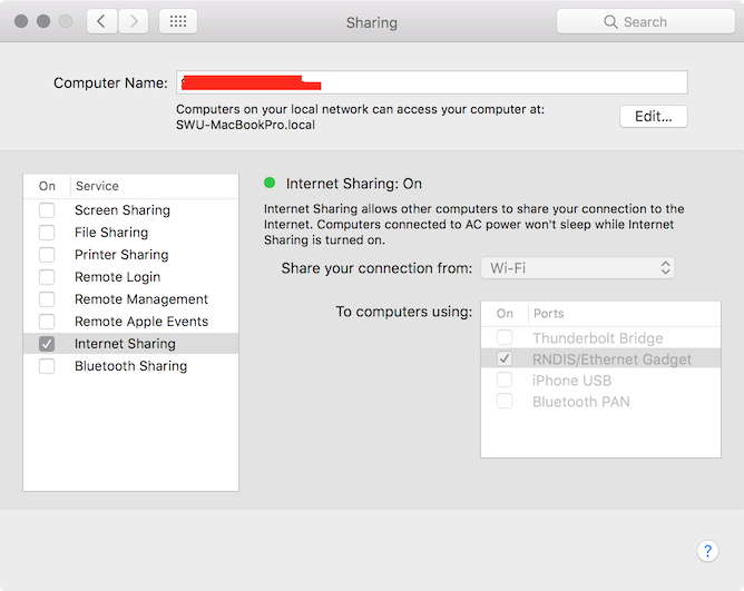 macOS Network Sharing Configuration