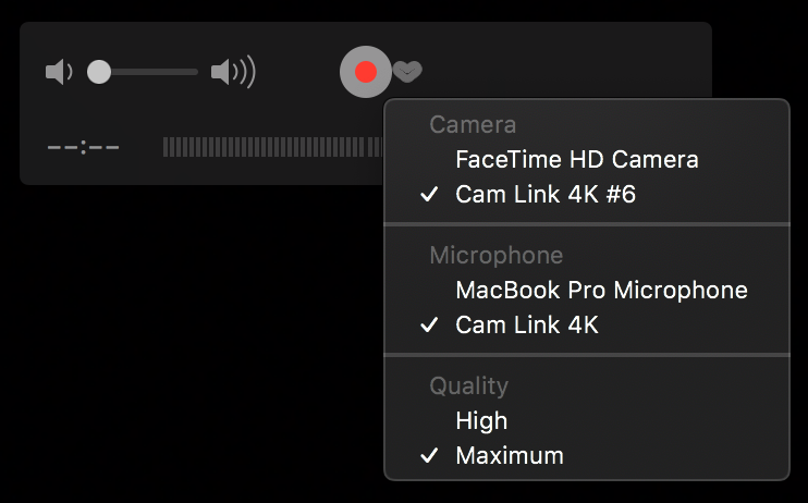 Quicktime camera and microphone selection