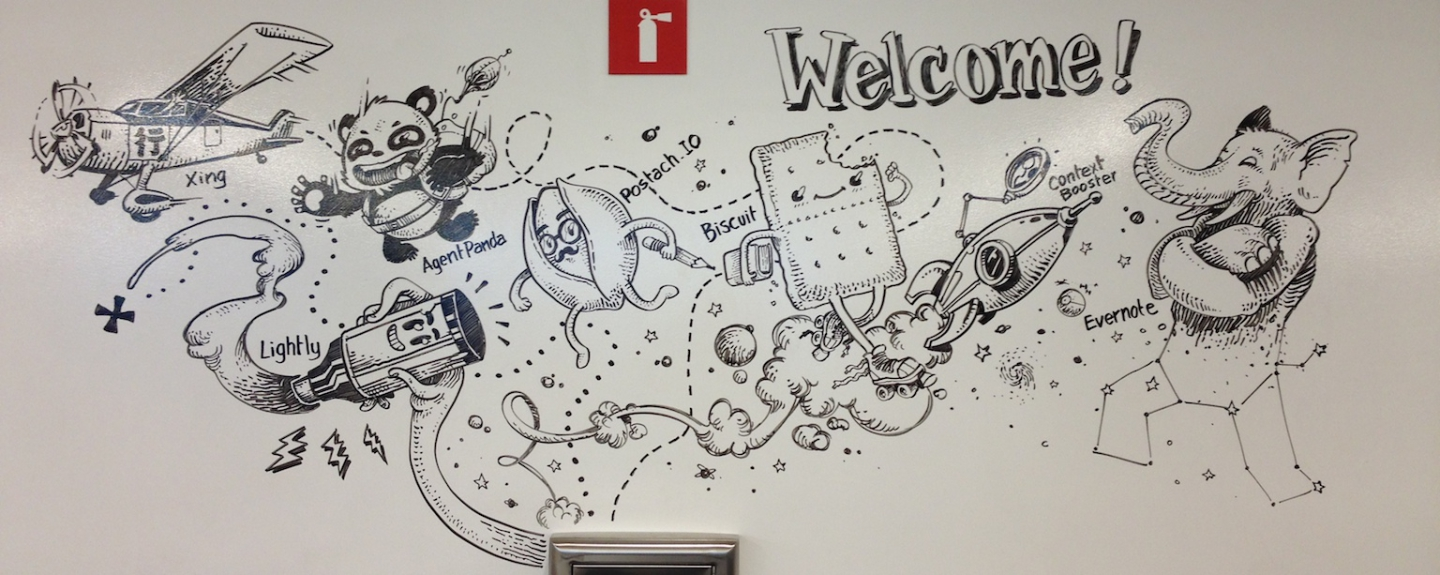 Evernote office welcome-wall