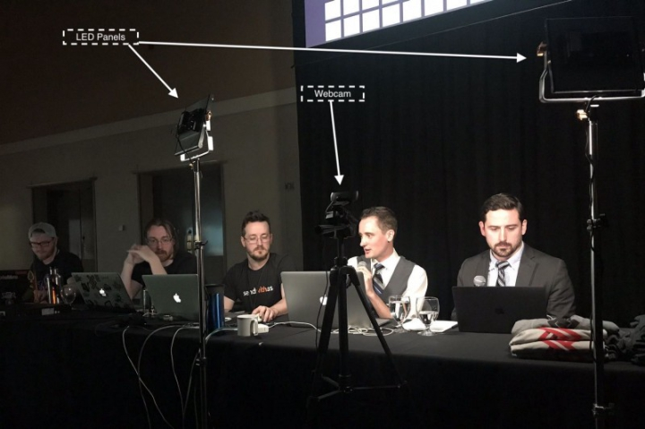 A behind the scenes shot of the casting table, and our setup for running the tournament.